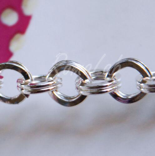21 cm di CATENA catenina colo argento chiaro CERCHI a maglie doppie x bracciali