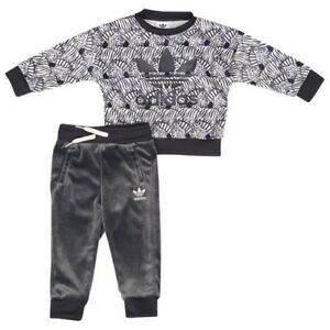 fab0ca6725519 Image is loading BABY-GIRLS-Adidas-Originals-Zebra-Crew-Set-Black-