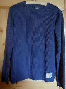 Hochwertiger-Herrenpullover-v-NEVADA-Gr-L-Baumwolle-Rippenstrick-dunkelblau