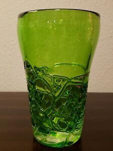 Vintage-Mid-Century-Collectable-Art-Glass-Hand-Blown-Emerald-Green-Vase