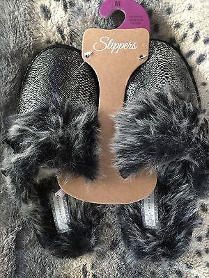 Señoras zapatillas tamaño 7-8 Negro Piel De Serpiente Piel Sintética Regalo Nuevo