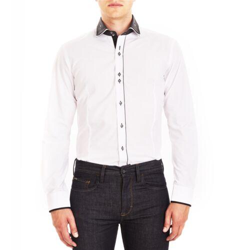 GUIDE London Camicia a Maniche Lunghe Bianco LS.73917 NERO DOPPIA A Pois Medio Sala
