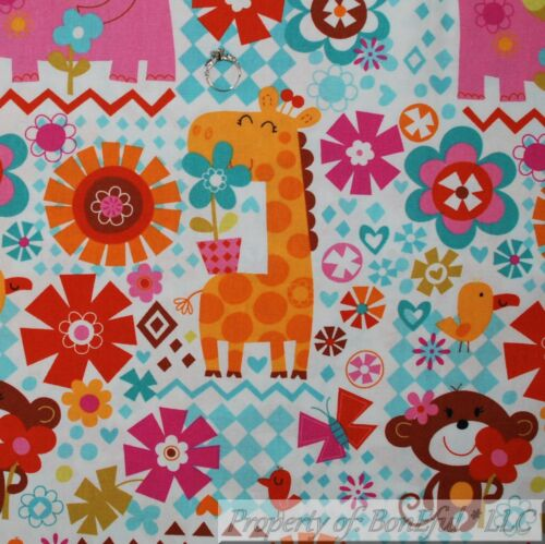 BonEful FABRIC FQ Cotton Quilt White Pink Elephant Orange Giraffe Monkey Flower