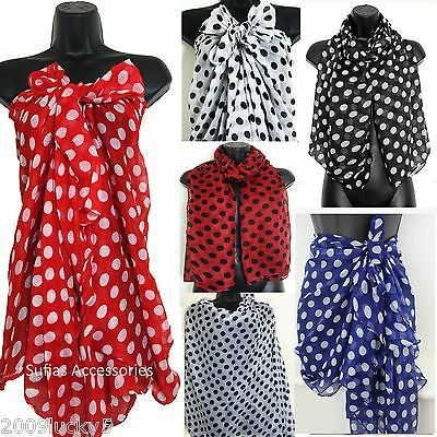 Big Polka Dot Sarong Beach Pool Cover Up Scarf Wrap Kaftan Scarves Spots S86
