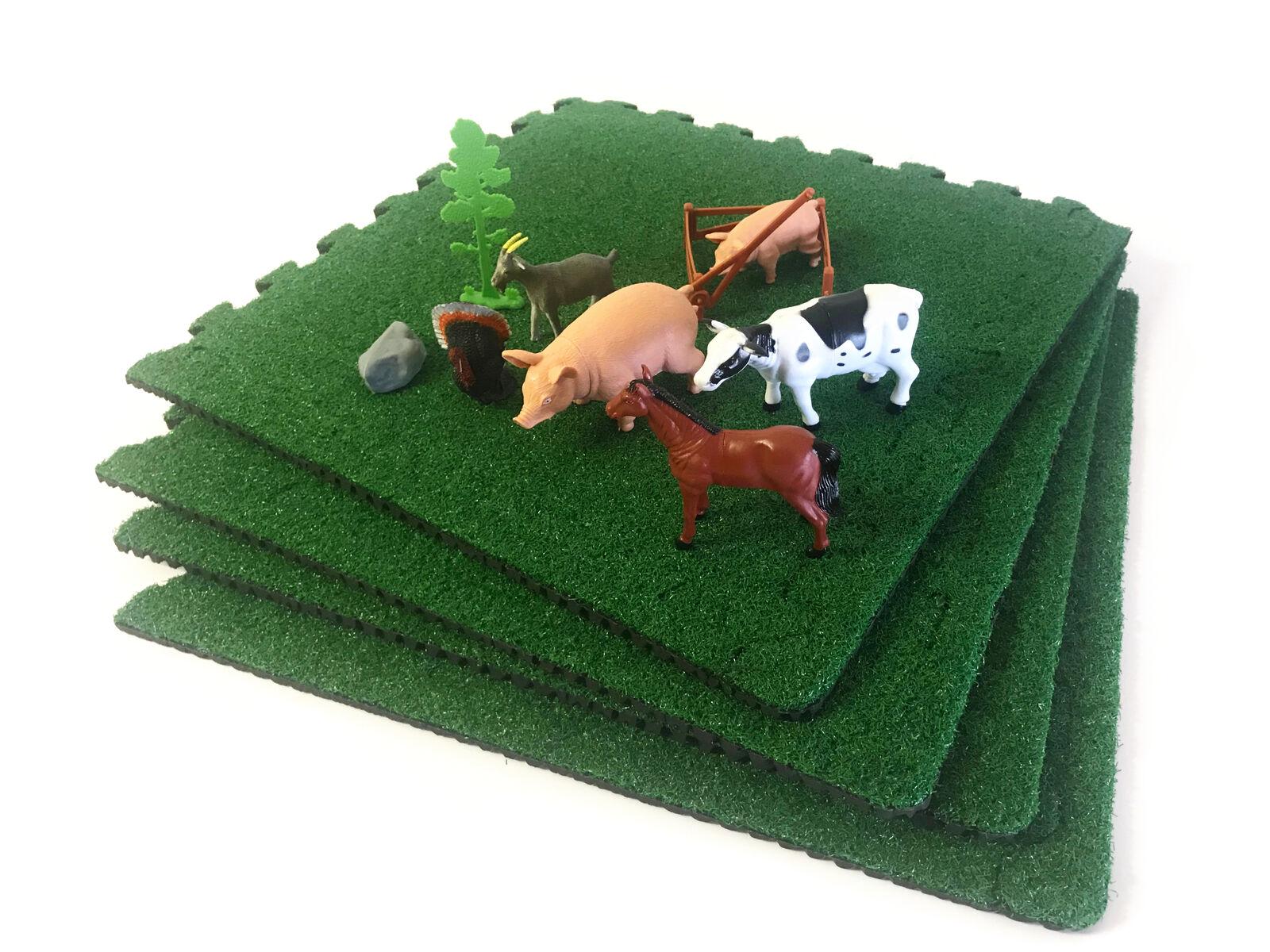 9pc Bauernhoftiere Spielset + Kunstrasen Spiel Bereich (9sq Fuß) Modell