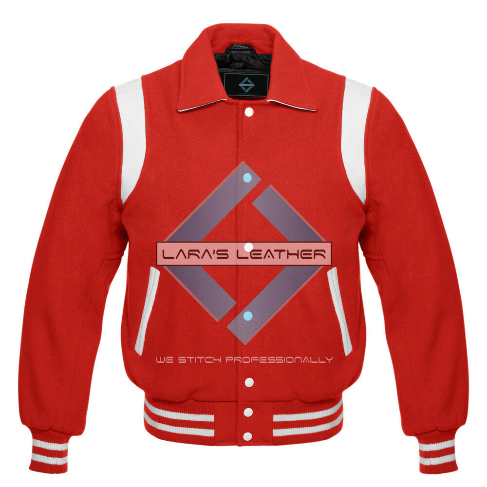 Red Varsity Full Wool Letterman College Jacket with real Leather Shoulder Straps