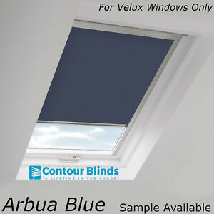 Details About Navy Blue Blackout Fabric Skylight Blinds For All Velux Roof Windows