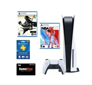 PlayStation 5 Disc Bundle! BRAND NEW UNOPENED!! 2 games 1 year PS Plus and $50!