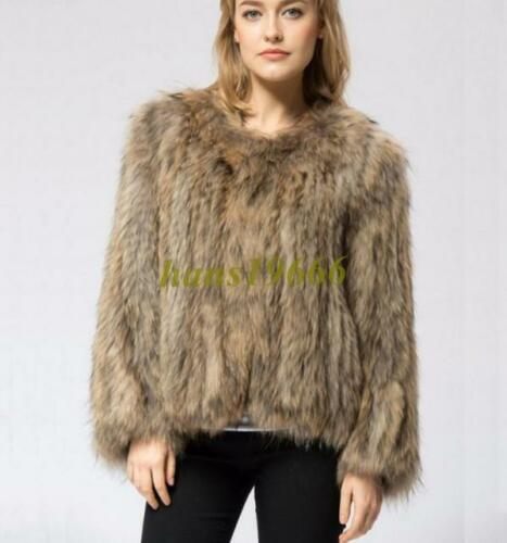 100/% Real Knitted Rabbit Fur Coat Outwear Jacket Raccoon Trim Huge Collar Sz New