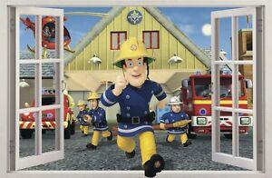 Autocollant mural fenêtre 3d pompier fireman sam muraux sticker 47