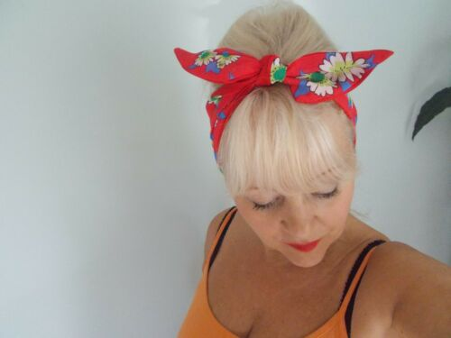 HEAD BAND HAIR SCARF RED WHITE DAISY DAISIES FLOWERS ROCKABILLY SWING LAND