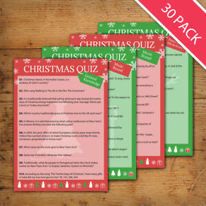 Details about 30 Player Christmas / New Years Quiz / Party Game: 4 Rounds -  40 Questions
