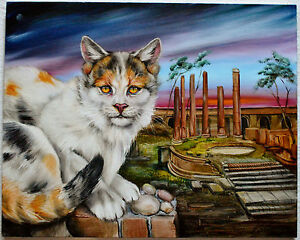 MARTIN-KATON-CAT-SANCTUARY-OF-ROME-ITALY-ORIG-OIL-PAINTING-CANVAS-SIGNED-W-COA