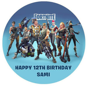 Image is loading FORTNITE-Edible-Premium-Wafer-Paper-Party-Birthday-Cake- 4b6cafd61d47