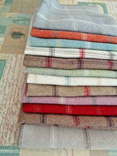 FAT QUARTER ISLES LEWIS WOOL TOUCH CHECK BLUE GREEN CREAM Check FABRIC