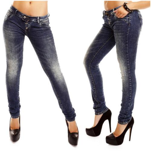Damen Jeans Lantis Stretch Denim slim fit skinny Hüft Hose Used Look Röhrenjeans