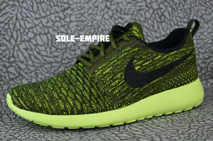 d1b654fa91fd Nike WMNS Roshe One Flyknit 704927-301 Rough Green Black Lime NEW IN ...