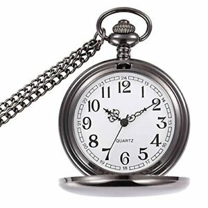 Classic Smooth Vintage Pocket Watch Sliver Steel Men with 14 in Chain for Father