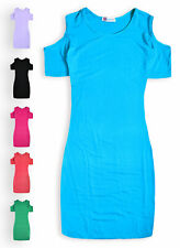 Girls Midi Dress New Kids Cold Shoulder Bodycon Stretch Dresses Ages 5-13 Years