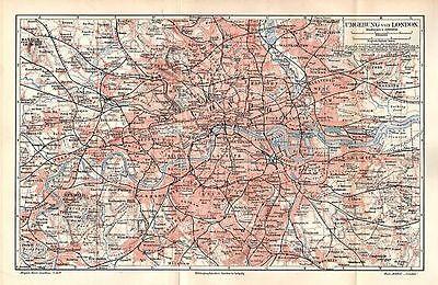 Liefern London Umgebung Richmond Tottenham Wimbledon Kingston Landkarte Map 1906 Und Verdauung Hilft