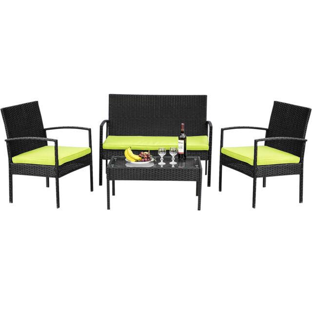 Phenomenal 4 Pcs Outdoor Patio Pe Rattan Wicker Table Set Sofa Furniture With Cushion Black Lamtechconsult Wood Chair Design Ideas Lamtechconsultcom