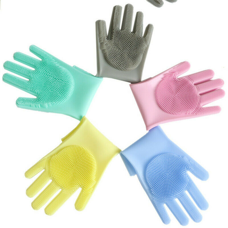 1Pair Silicone Rubber Dish Washing Gloves Magic Scrubber Cleaning Brush Kitchen 5