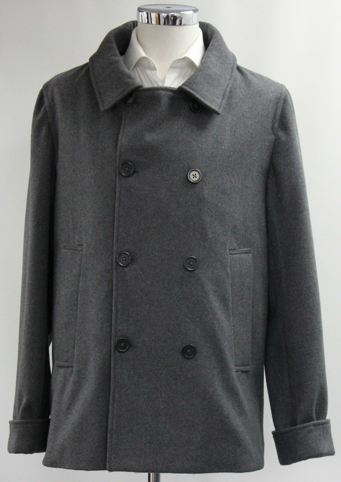 Men's unbranded, double breasted Grey overcoat (M).. sample 2845