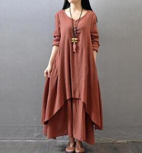 290cca63aa651 Details about 2018 Women Plus Size Boho Dress Long Loose Ladies Casual  Cotton Linen Clothing