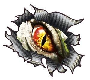 LARGE CLASSIC Ripped Carbon Fibre Rip Evil Eye Horror Monster - Car sticker designripped torn metal design with evil eye monster motif external