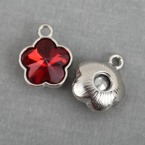 Crystal Glass in Silver 15mm chs3785 10 RED Rhinestone Flower Drop Charms