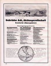 Adt AG Ensheim Saargebiet Reklame 1926 Papierfabrik Elektrotechnik Fahrradteile