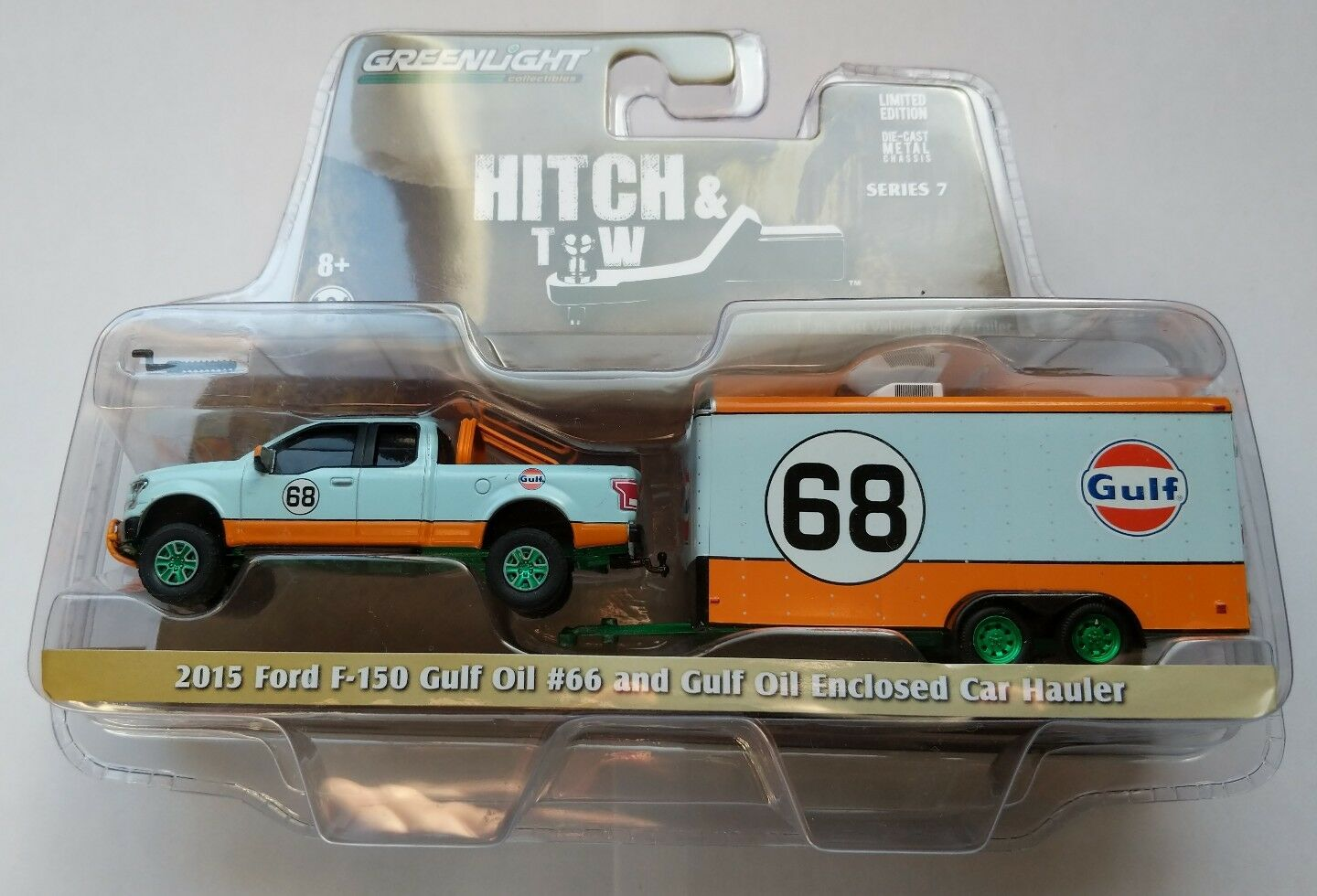 GREENLIGHT Hitch & TOW 2015 F-150 GULF OIL and GULF OIL Enclosed Car Hauler.
