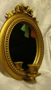 Vintage-Gold-Tone-Oval-Mirror-Candle-Holder-Wall-Hanging-Decor-Sconce-Ornate-372