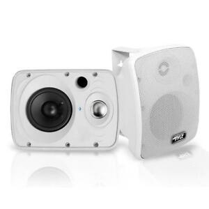 Pyle-pdwr-64BTW-wasserdicht-amp-Bluetooth-6-5-034-Indoor-Outdoor-Lautsprechersystem-weiss