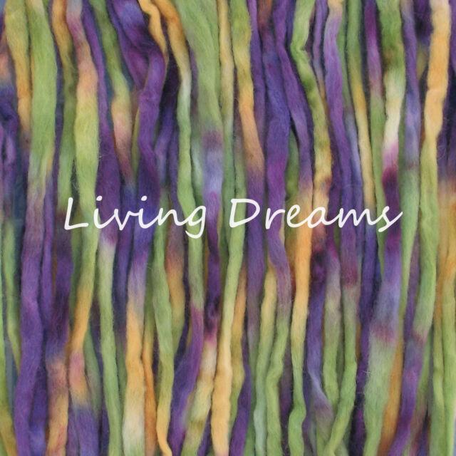 SPINNING FELTING Living Dreams PENCIL ROVING WOOL TOP FIBER hand dyed MONET