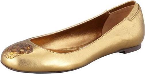 Alexander McQueen Gold Sequin Embellished Skull Ballerina Ballet Flat Shoes  525