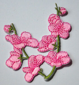 PINK-BLOSSOM-CHERRY-FLOWER-Embroidered-Iron-Sew-On-Cloth-Patch-Badge-APPLIQUE
