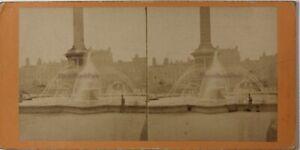 Londra Trafalgar Square UK Foto Stereo Vintage Albumina c1870