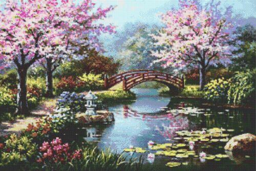 Apple Blossom Lake # 2-Counted cross stitch chart