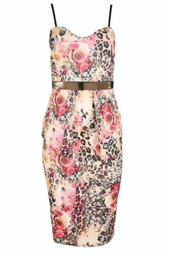 Womens Dresses Ladies Party Midi Top Peplum Gold Belt Bodycon Strappy BoobTube