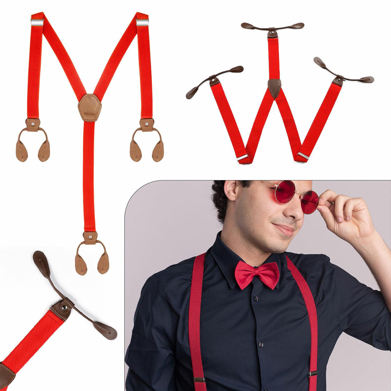 25mm Unisex Men's Braces Wide Heavy Duty Suspenders Y Shape Adjustable Plain Red
