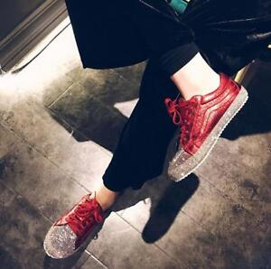 Women Sequins Fashion Red Party Casual Flat Heel Bling Rhinestone ... 5ee603fadff0