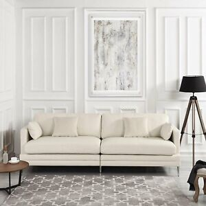 Details about Off White Leather Match Sofa Modern Mid Century 2 Seat Couch  Chrome Legs Beige
