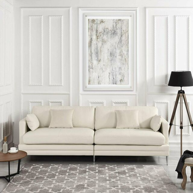 Astounding Off White Leather Match Sofa Modern Mid Century 2 Seat Couch Chrome Legs Beige Caraccident5 Cool Chair Designs And Ideas Caraccident5Info