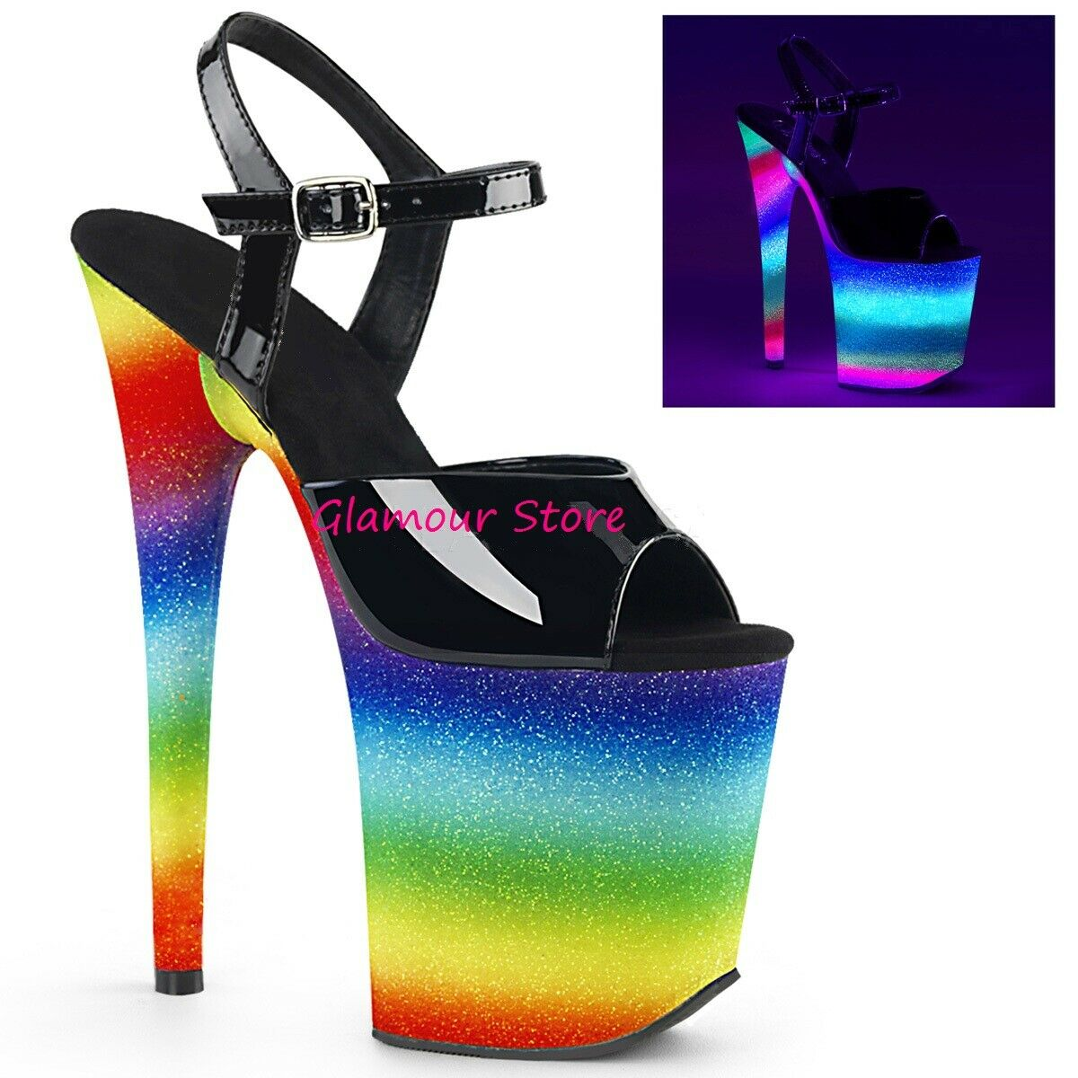Sexy Fluorescent Sandals Glitter Heel 20 from 35 to 40 Rainbow Platform