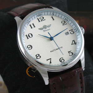 Classic-Men-039-s-Automatic-Mechanical-Self-Winding-Date-Brown-Leather-Wrist-Watch