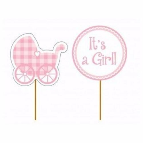 CUPCAKE TOPPERS PLAID BABY GIRL Girl  Baby Shower Party Supplies Tableware