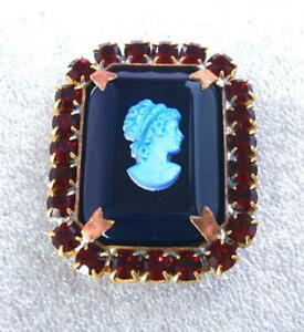Vintage-Style-Czech-ALL-Glass-Rhinestone-Pin-Brooch-T180-SIGNED