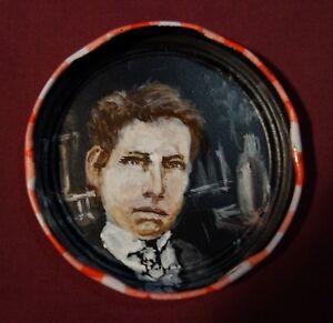 ARTHUR-RIMBAUD-Jam-Jar-Lid-Portrait-French-Poet-Outsider-Folk-Art-PETER-ORR