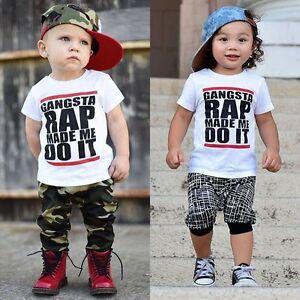 Toddler Kids Baby Boys Hip-Hop Blouse Casual T-shirt Tops ...